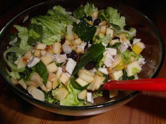 Kuřecí salát s brusinkami, salátem, jablky a praženými mandlemi