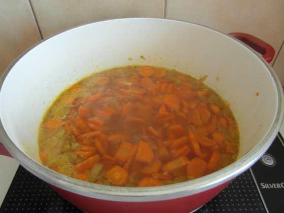 Uvařená polévka před promixováním
