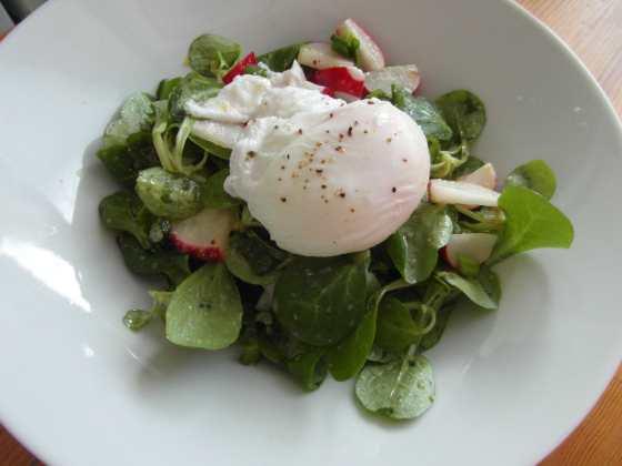Polníčkový salát se ztraceným vejcem