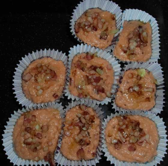 Rajčatové muffiny před pečením