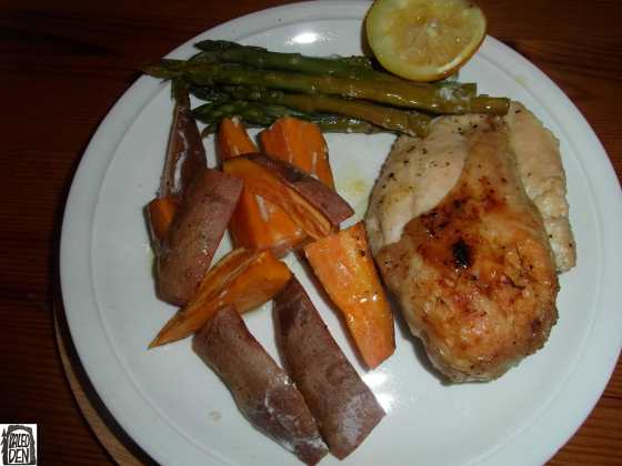 Kuře s batáty a chřestem